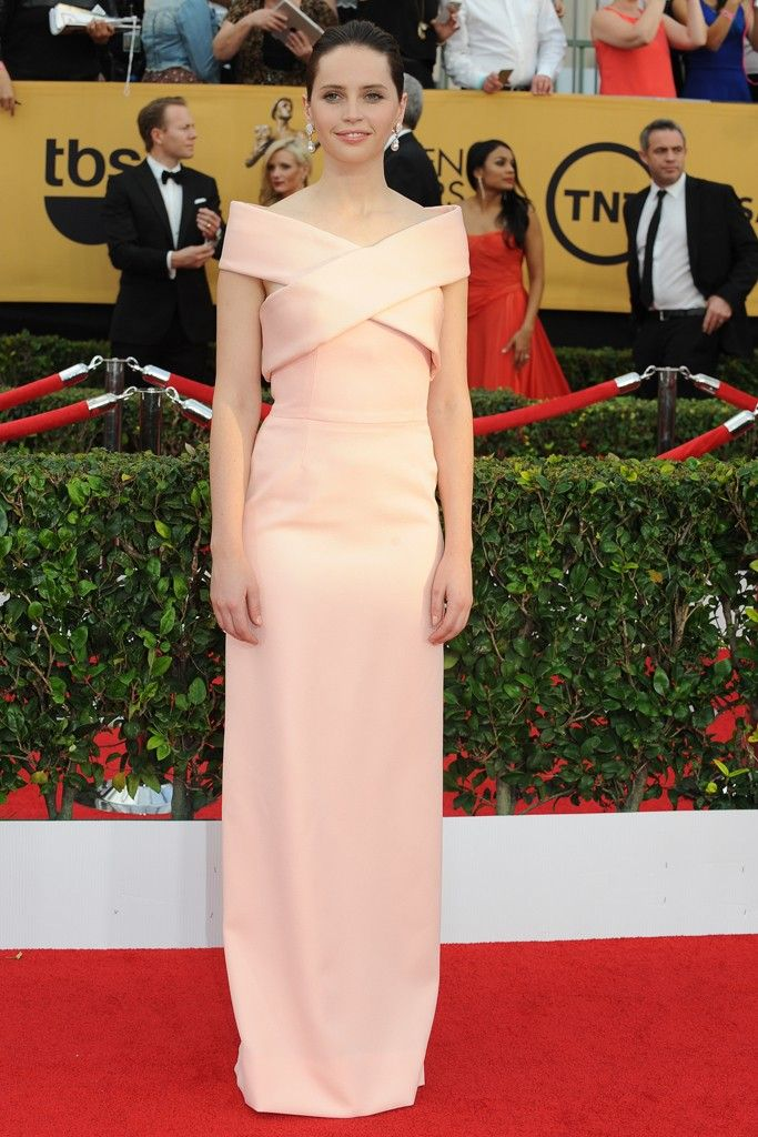 Felicity Jones on the SAG Awards Red Carpet. [Photo by Amy Graves]