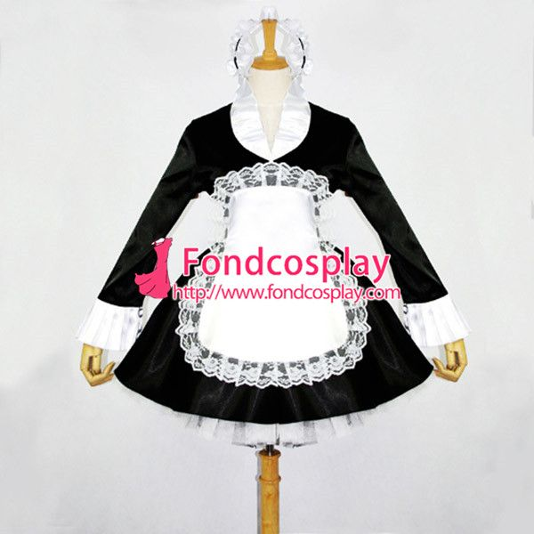 Free Shipping Sissy Maid Dress Lockable Satin French Maid Uniform Dress Cosplay Costume Custom-made