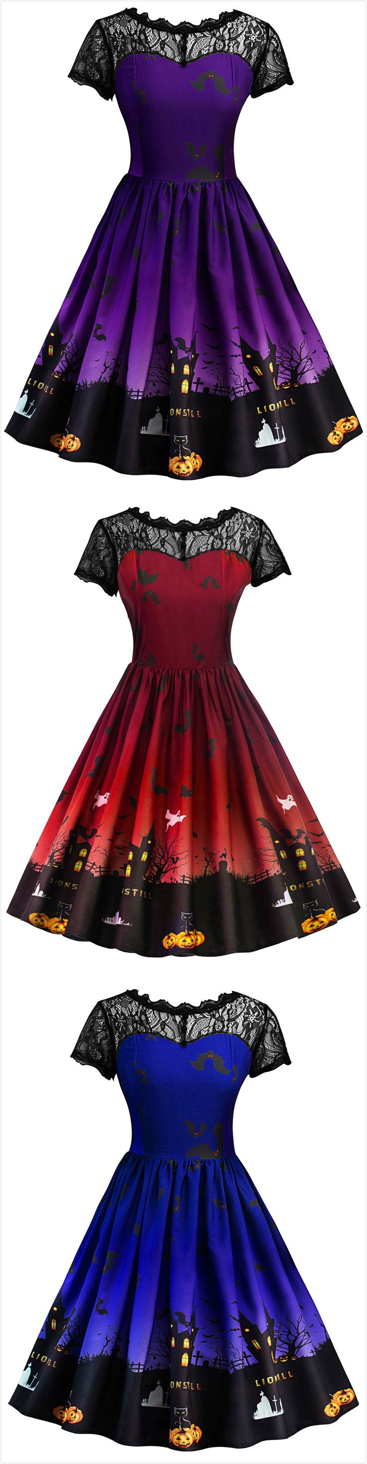 Halloween Vintage Lace Insert Pin Up Dress