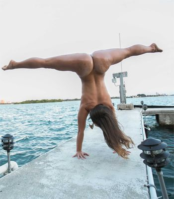 latina handstand split naked