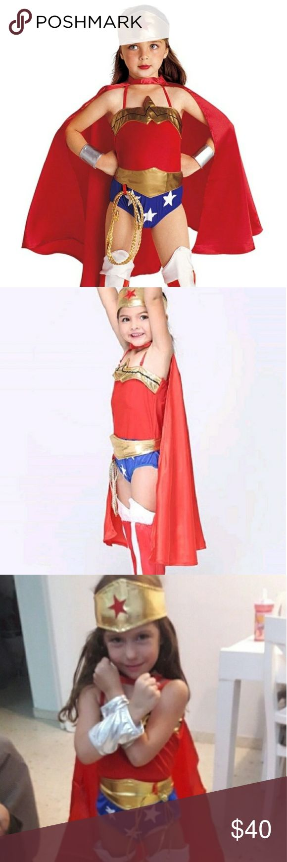 Wonder Woman costume for girls Wonder Woman costume comes with leotard, belt with detachable lasso, knee boot covers, headband,wristbands AND cape! Sizes available from 3T to size 12 in youth. Message me indicating what size you need after you complete your purchase. All sizes standard U. S. sizes. Costumes Halloween