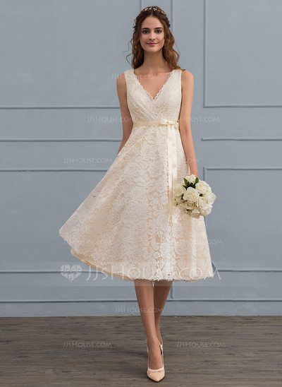 [€ 156.00]  A-line V-neck Knee-Length Lace Wedding Dress With Bow (s) - JJ's House