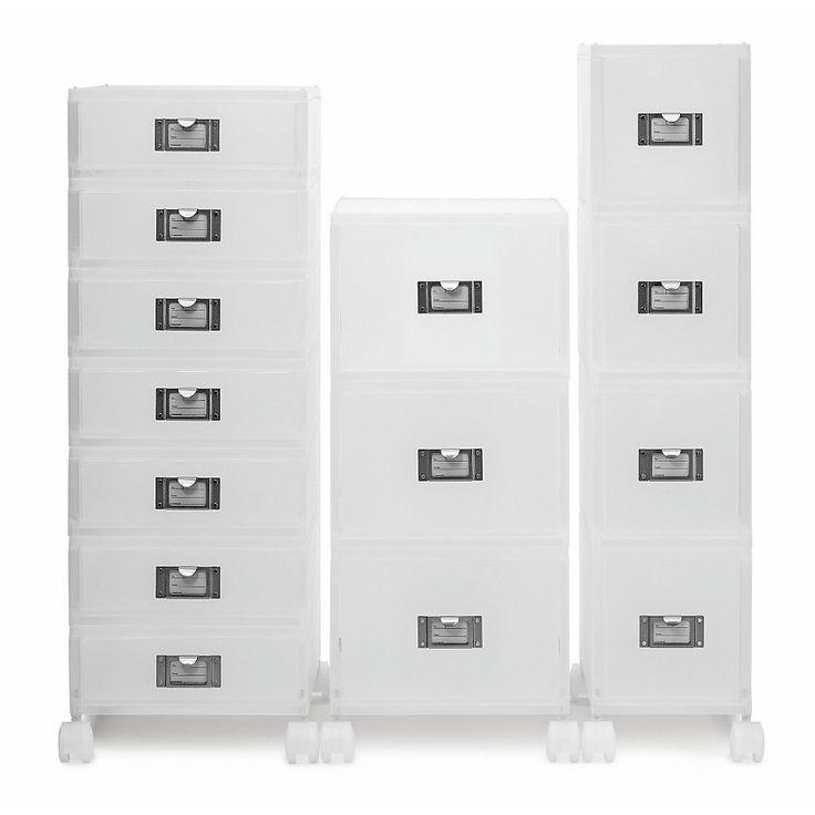 Stapelbare Schubladen aus trübtransparentem Kunststoff für Inhalte im DIN A4-Format und für CDs und DVDs. Die Boxen im DIN... - Schubladenboxen GWD