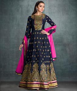 Buy Navy Blue Faux Georgette Long Anarkali Suit 73190 online at lowest price from huge collection of salwar kameez at Indianclothstore.com.