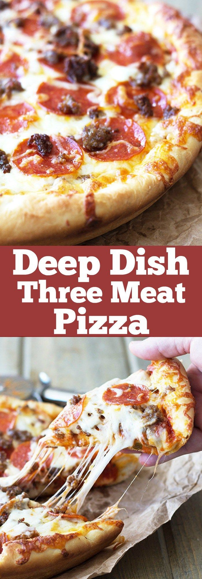 Deep Dish Three Meat Pizza -thick crust, sauce, three kinds of meat and lots of cheese!!! Need I say more?!?!   countrysidecravings.com