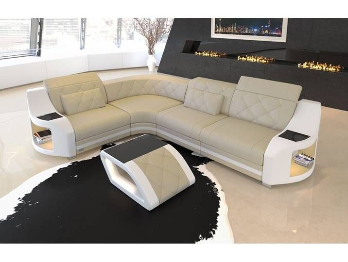 Sofa Dreams Ecksofa Genua L Form Gelb Beige Weiss Leather