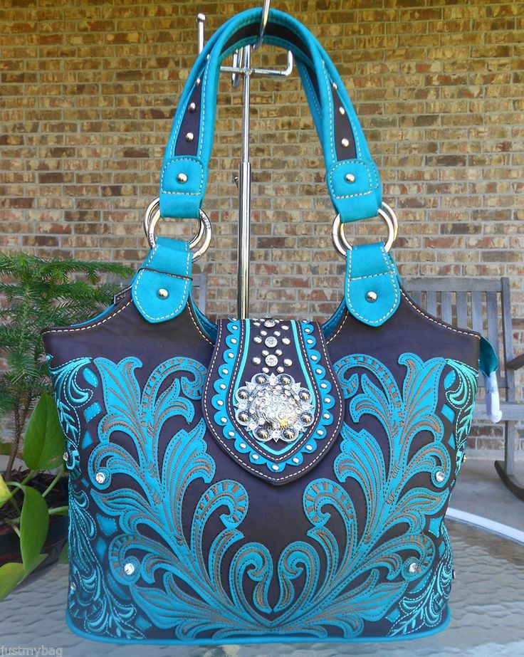 New Montana West Embroidered Crystal Designed Western Bag Turquoise Coffee In Clothing Shoes Accessories Women S Handbags Bags Purses