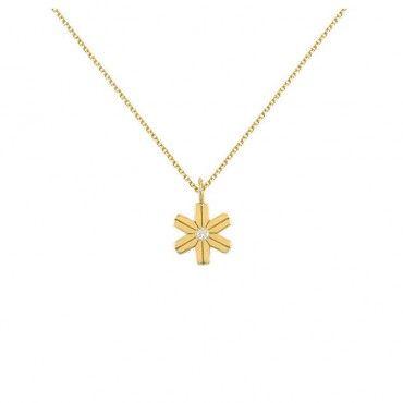 Μοντέρνο λεπτό κολιέ χρυσό Κ14 με κρεμαστή νιφάδα χιονιού με διαμάντι στο κέντρο και λεπτή αλυσίδα λαιμού | Κοσμήματα ΤΣΑΛΔΑΡΗΣ στο Χαλάνδρι #νιφάδα #διαμαντια #χρυσο #κολιε