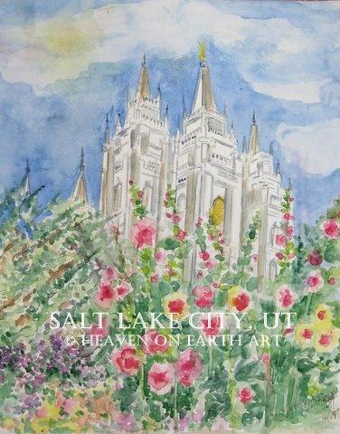 slc: Prints Salts, Salts Lakes Cities, Ut Temple11X14, Temple 11X14, Salt Lake Temple, Salts Lakes Temples, Salt Lake City, Cities Ut, Watercolor Prints
