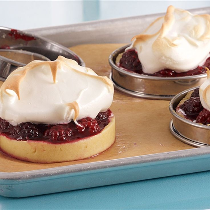 Try this Blackberry Meringue Tarts recipe by Chef Anna Olson. This recipe is from the show Bake With Anna.
