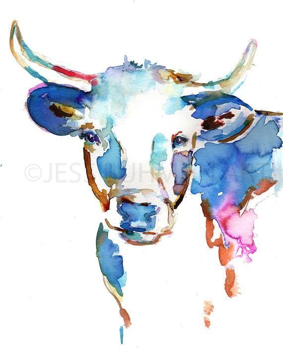 Impression De Peinture De Vache Longhorn Par Jess Buhman