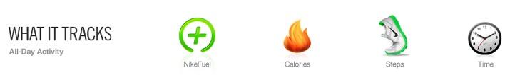 Nike, Tracks NikeFuel, Calories, Steps, Time