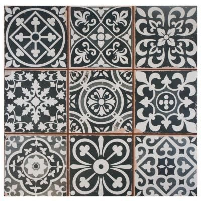 Merola Tile Faenza Nero 13 in. x 13 in. Ceramic Floor and Wall Tile (12.2 sq. ft. / case)-FPEFAEN at The Home Depot