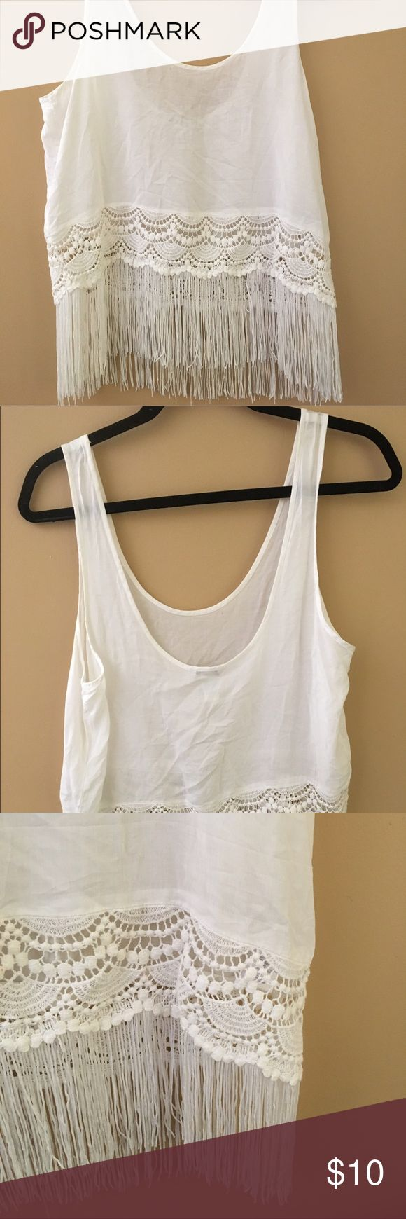 White tank top Perfect for the beach! White top with fringe and lace bottom. Tops Tank Tops