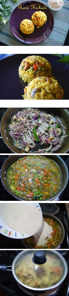 Rava Kichadi - A Colorful, healthy, tasty and quick to prepare South Indian breakfast made with semolina / sooji and veggies.