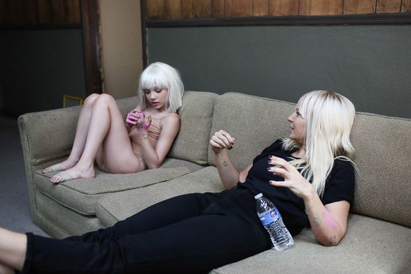 Ok sia looks so freakin adorable, I would love to just watch tv with her.....notice she has some pink paint on her arm.....She's so fucking cute