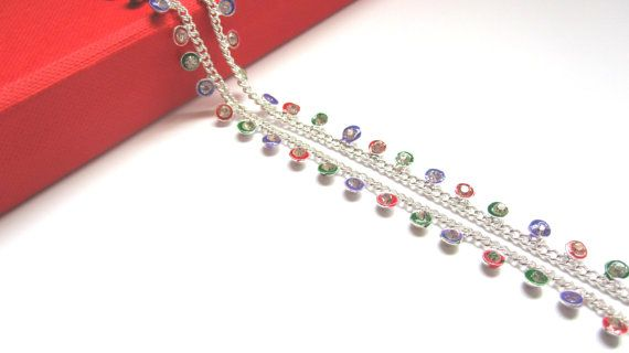Silver Tone And colorful Stone Anklet Indian by MakArtyDesigns
