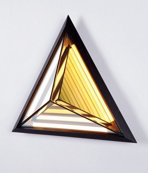 Half Mirrored Stella Triangle Sconce by Roll & Hill - 17 x 18 x 6.5