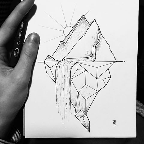 Therapeutic dots until I was looking cross eyed. #illustrator #illustration #design #sketch #drawing #draw #ink #pen #tattoo #tattoodesign #dotwork #linework #blackwork #blackworkers #blackandwhite #mountain #landscape #nature #waterfall #sun #art #artwork #artist #artistic #instaart #geometry #geometric #evasvartur #instafollow