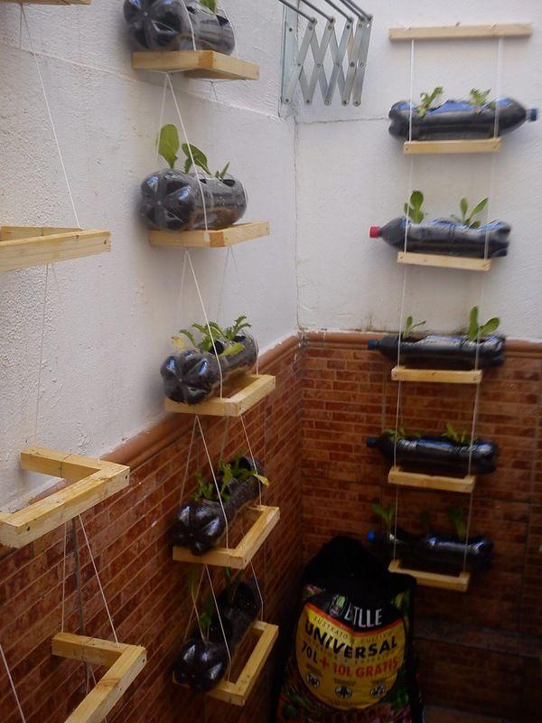 Reusa botellas para tu huerto vertical!