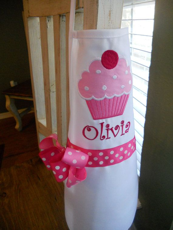 Pink Cupcake on White Apron by BabyPaige on Etsy