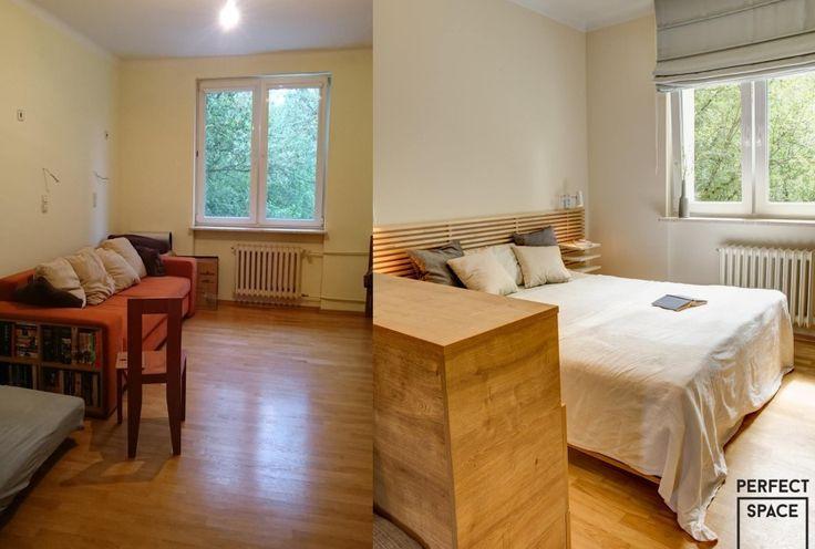 Metamorfoza sypialni. Duże, rozłożyste łóżko z drewnianym zagłówkiem.