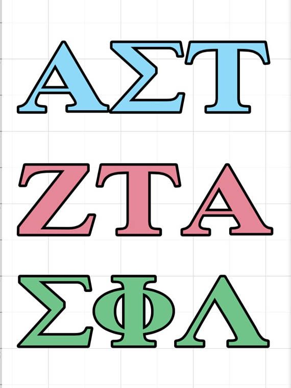 Sorority and Fraternity Letter Decals