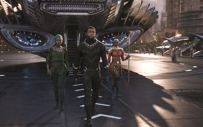 Download wallpapers Black Panther, 2018 movie, plane, superheroes