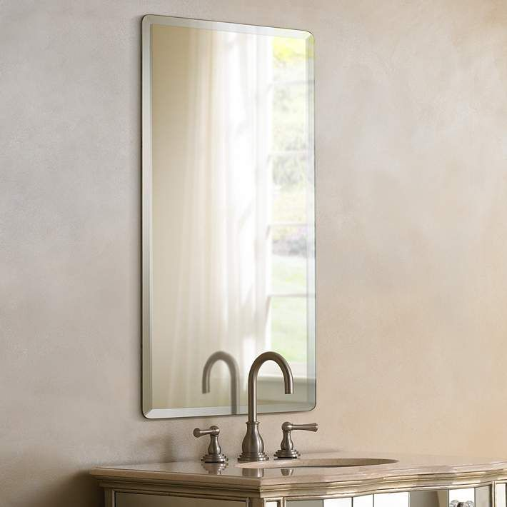 Frameless Rectangular 20 X 30 Beveled Wall Mirror P1401 Lamps Plus Mirror Wall Bathroom Mirror Beveled Mirror
