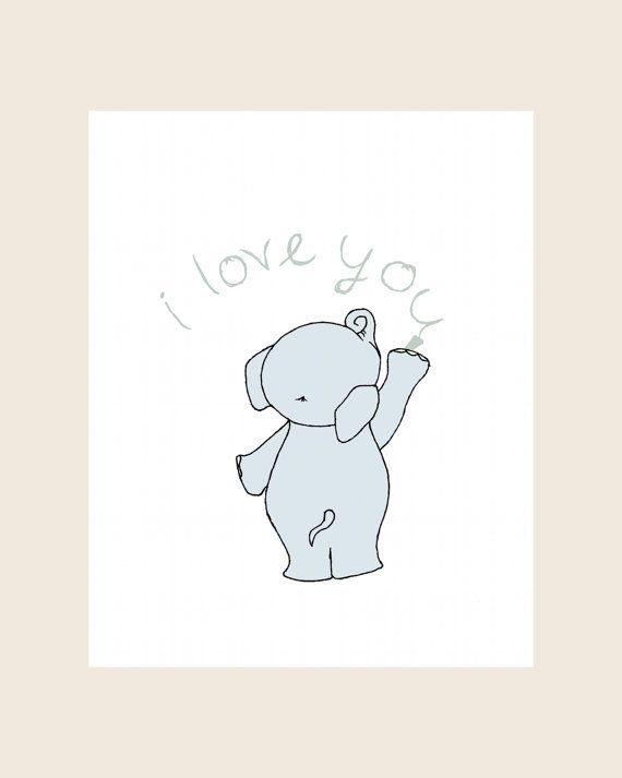 I Love You Nursery Art Print  Elephant Love by SweetMelodyDesigns, $15.00