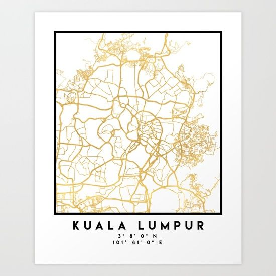 KUALA LUMPUR MALAYSIA CITY STREET MAP ART -  An elegant city street map of Kuala Lumpur, Malaysia in gold, with the exact coordinates of the city, make up this amazing art piece. A great gift for anybody that has love for this city. You can never go wrong with gold. I love my city.  graphic-design digital typography stencil illustration kuala-lumpur malaysia downtown street map coordinates souvenir gold gift city