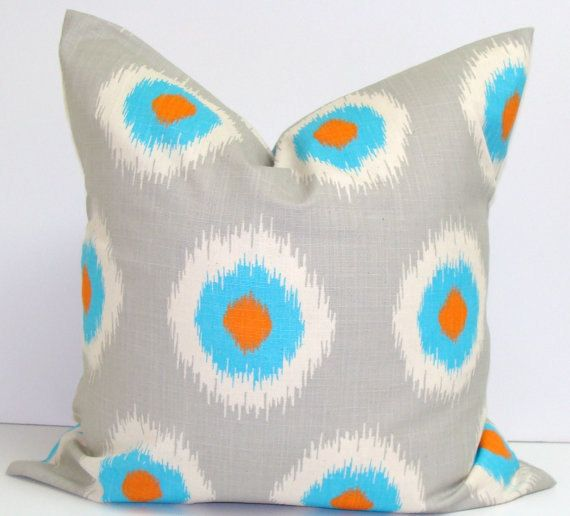18 X 18 Inch Turquoise Orange & Gray Ikat by TheTextileShop321, $18.00