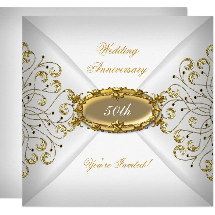 Elegant 50th Wedding Anniversary White Gold Invitation Zazzle Com 50th Wedding Anniversary 50th Wedding Anniversary Party 50th Anniversary Invitations
