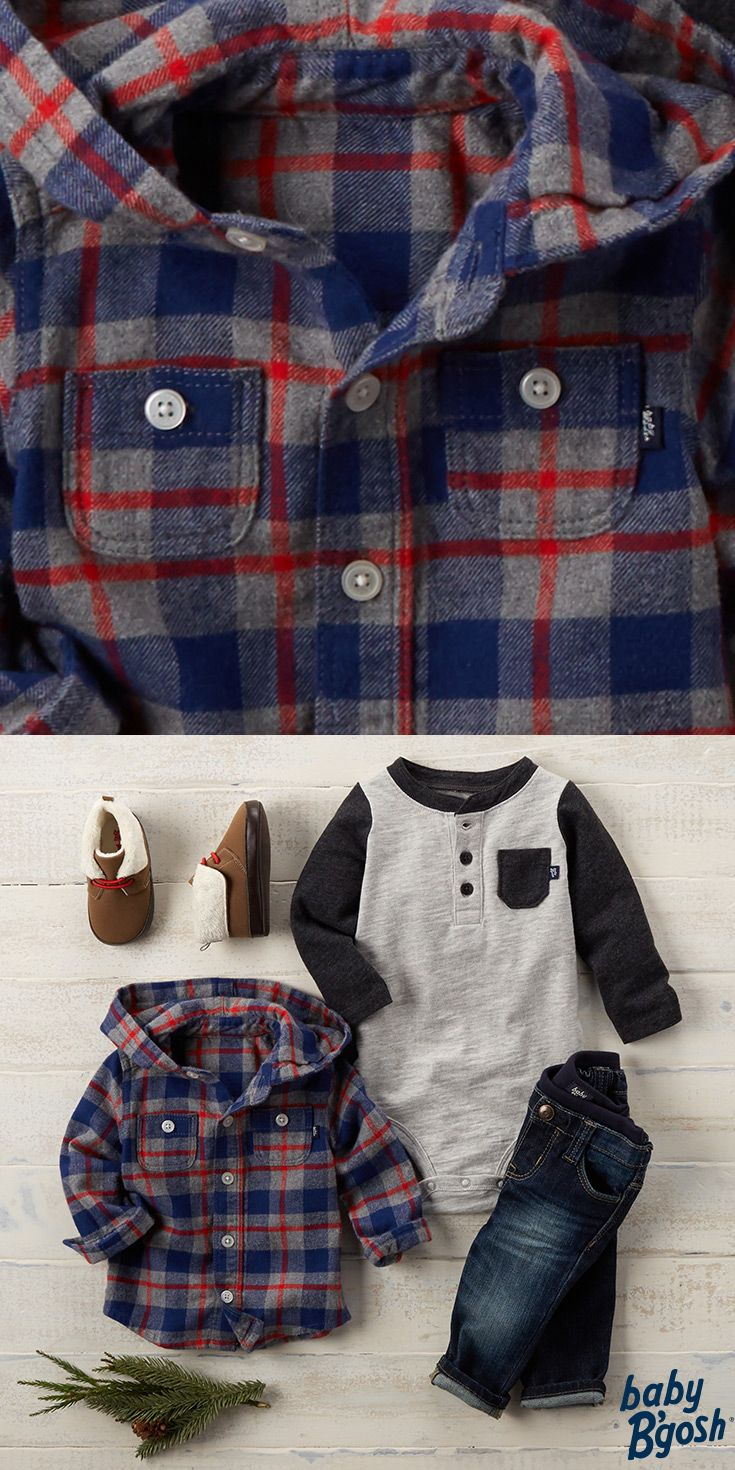 A modern indigo wash makes baby's first blues as cool as Dad's. Pair with a festive flannel and sherpa booties for warm wishes! For more Baby B'gosh looks, visit OshKosh.