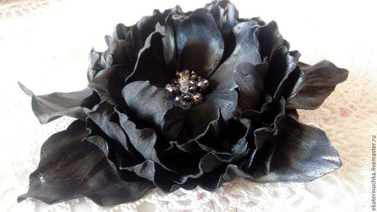 """Купить Брошь-заколка """"Магия ночи"""" - брошь, черная брошь, брошь с цветком, черный цветок"""