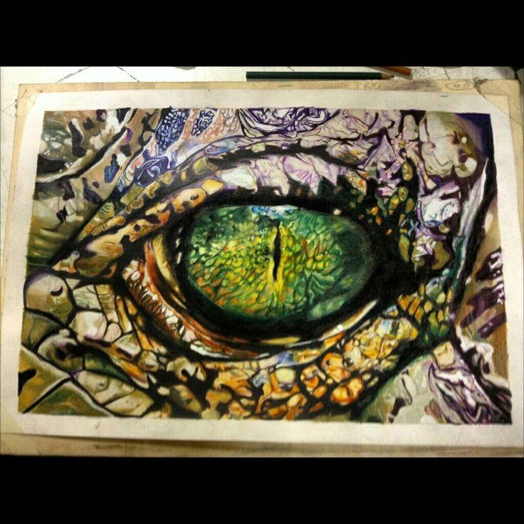 The eye of the crocodile #27hours#workhard#pastels#carand'ache#eye#crocodile