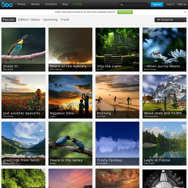 """""""500px is a photo-based social networking app that encourages users to browse through the gallery of uploaded photos, upload their own, and connect with others who are checking out the same image"""" (From: http://www.insidemobileapps.com/2013/05/17/500px-review/) - http://500px.com/popular"""