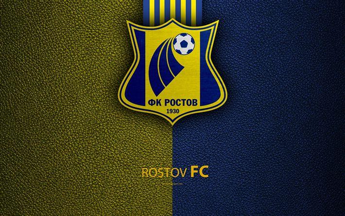 Télécharger fonds d'écran FC Rostov, 4k, logo, russe, club de football, le cuir à la texture, de la première Ligue russe, de football, de Rostov-sur-le-Don, Russie