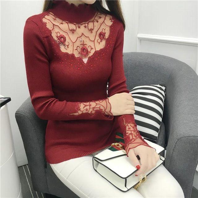2016 самые новые осенние и зимние женщины свитера Корейской моды сексуальные кружева алмаз трикотажные пуловеры женщины рубашки 882J 25