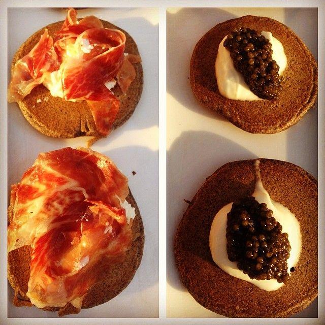 Easter dinner apps: buckwheat blini w crema/caviar and w goat chs/bellota Spanish ham