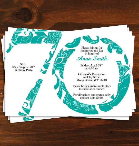 Paisley 70th Birthday Party Invitation by LindsayBrittonDesign, $18.00