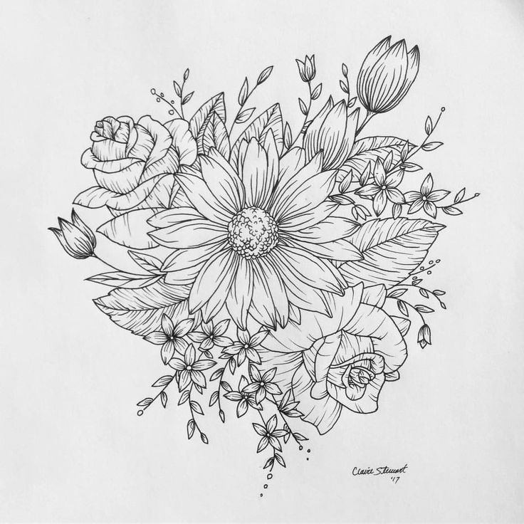 Another design done! #tattoo #customdrawing #drawing #sketch #linedrawing #flash #floral #sunflower #rose #wildflowers #art #sketchbook