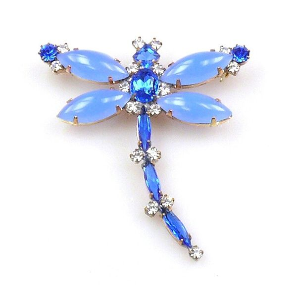 "Dragonfly Navette #2 ~ Opaque Blue. Opaque stones navette rhinestone Dragonfly brooch, size 2.40"" x 2.60"". Price: $15.90"