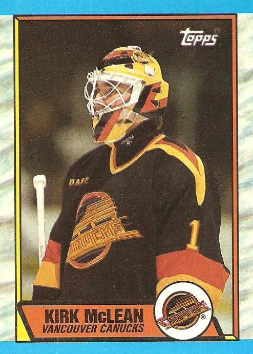 """Captain"" Kirk McLean, Vancouver Canucks goalie, 1989 card."