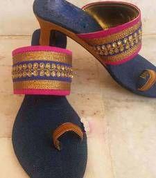 Buy blue plain silk footwear footwear online