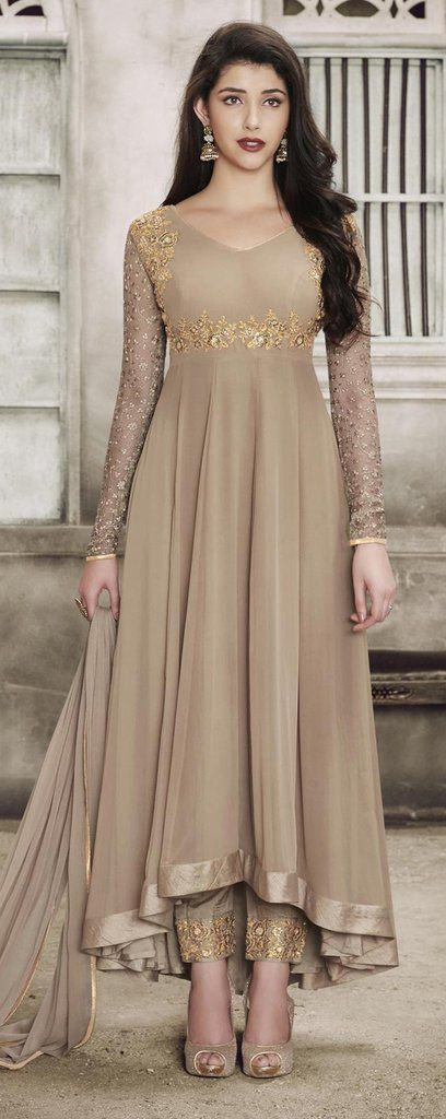 Beige Designer Embroidered Georgette Net Anarkali Suit