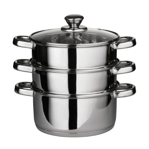 Premier Housewares 408129 Stainless Steel Steamer with Glass Lid, 22 cm