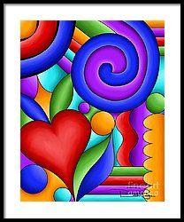 Heart And Swirl Framed Print by Debi Payne