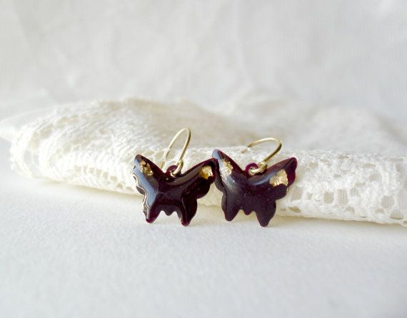 Purple Butterfly with gold flake earrings by DivineDecadance