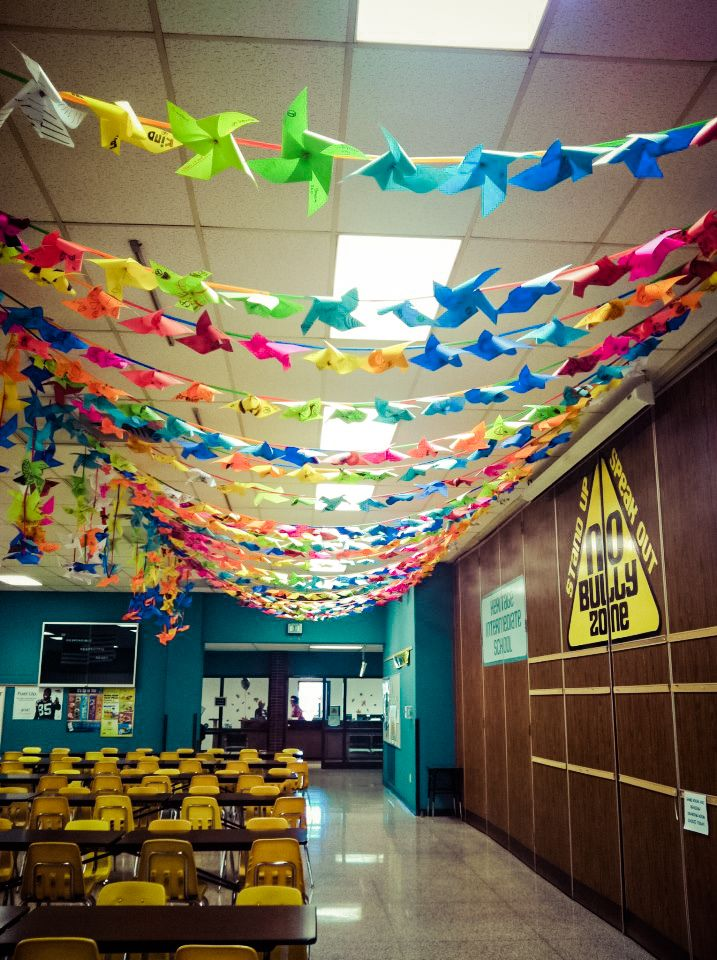 Decorated hall idea - PINWHEELS! Would be great but would have to be up high to avoid being knocked down